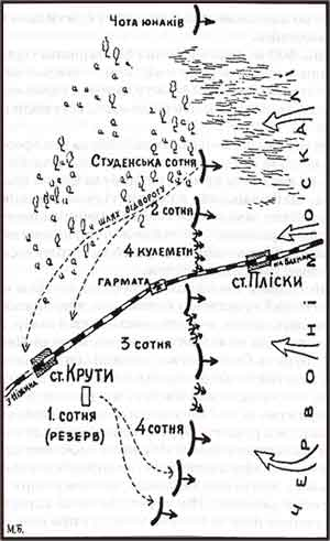 Карта бою під Kрутами
